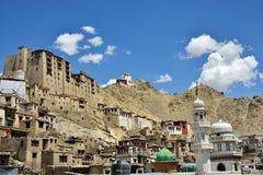 Leh上面的宫殿和Tsomo修道院,拉达克,查谟和克什米尔,印度 库存图片