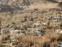 Leh市和山, Leh拉达克,印度 免版税库存图片