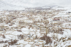 Leh拉达克市在冬天 库存照片