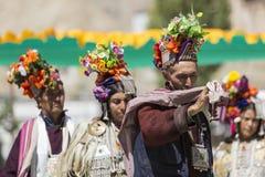 LEH, ÍNDIA - 20 DE SETEMBRO DE 2017: Artistas não identificados em Ladakhi Imagem de Stock