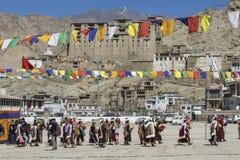 LEH, ÍNDIA - 20 DE SETEMBRO DE 2017: Artistas não identificados em Ladakhi Foto de Stock Royalty Free