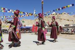 LEH, ΙΝΔΊΑ - 20 ΣΕΠΤΕΜΒΡΊΟΥ 2017: Μη αναγνωρισμένοι καλλιτέχνες σε Ladakhi Στοκ Φωτογραφίες