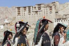 LEH, ИНДИЯ - 20-ОЕ СЕНТЯБРЯ 2017: Неопознанные художники в Ladakhi Стоковое Изображение