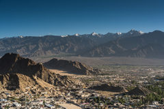 Leh city and beautiful Mountain, Leh Ladakh, India. The city of Leh, Leh city is located in the Indian Himalayas at an altitude of 3500 meters. viewed from tsemo Stock Photo