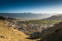 Leh city and beautiful Mountain, Leh Ladakh, India. The city of Leh, Leh city is located in the Indian Himalayas at an altitude of 3500 meters. viewed from tsemo Stock Image