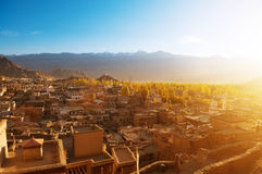 Leh city India. Sunrise view of Leh city, the town is located in the Indian Himalayas at an altitude of 3500 meters, North India Royalty Free Stock Photo