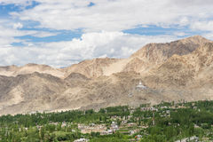 Leh city and Santi stupa Royalty Free Stock Images