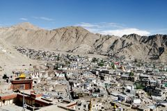 Leh city in the valley of mountain Stock Image