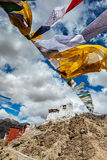 Leh gompa and lungta prayer flags. Leh, Ladakh, India Stock Images