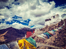 Leh gompa and lungta prayer flags. Leh, Ladakh, India Royalty Free Stock Photography