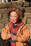 Cute Ladakhi child at ancient monastery Royalty Free Stock Image