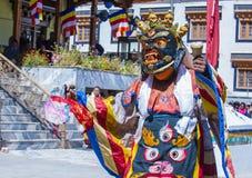 The Ladakh festival 2017. LEH, INDIA - SEP 21 , 2017 : Buddhist monk performing Cham dance during the Ladakh Festival in Leh India on September 20, 2017 Stock Photo
