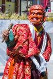 The Ladakh festival 2017. LEH, INDIA - SEP 21 , 2017 : Buddhist monk performing Cham dance during the Ladakh Festival in Leh India on September 20, 2017 Royalty Free Stock Image