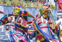 The Ladakh festival 2017. LEH, INDIA - SEP 21 , 2017 : Buddhist monks performing Cham dance during the Ladakh Festival in Leh India on September 20, 2017 Stock Images