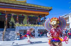 The Ladakh festival 2017. LEH, INDIA - SEP 21 , 2017 : Buddhist monks performing Cham dance during the Ladakh Festival in Leh India on September 20, 2017 Royalty Free Stock Image