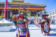 The Ladakh festival 2017. LEH, INDIA - SEP 21 , 2017 : Buddhist monks performing Cham dance during the Ladakh Festival in Leh India on September 20, 2017 Royalty Free Stock Photography