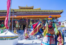 The Ladakh festival 2017. LEH, INDIA - SEP 21 , 2017 : Buddhist monks performing Cham dance during the Ladakh Festival in Leh India on September 20, 2017 Stock Image