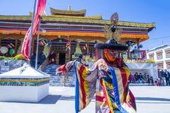 The Ladakh festival 2017. LEH, INDIA - SEP 21 , 2017 : Buddhist monks performing Cham dance during the Ladakh Festival in Leh India on September 20, 2017 Stock Photos