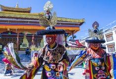 The Ladakh festival 2017. LEH, INDIA - SEP 21 , 2017 : Buddhist monks performing Cham dance during the Ladakh Festival in Leh India on September 20, 2017 Royalty Free Stock Images