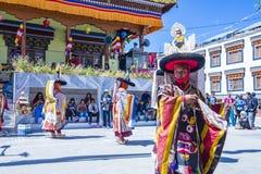 The Ladakh festival 2017. LEH, INDIA - SEP 21 , 2017 : Buddhist monks performing Cham dance during the Ladakh Festival in Leh India on September 20, 2017 Stock Photography