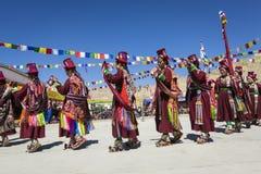 LEH, INDIA - SEPTEMBER 20, 2017: Niet geïdentificeerde kunstenaars in Ladakhi Stock Afbeelding