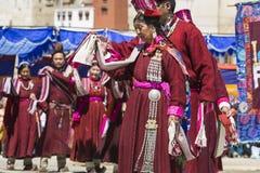 LEH, INDIA - SEPTEMBER 20, 2017: Niet geïdentificeerde kunstenaars in Ladakhi Royalty-vrije Stock Fotografie