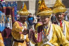 LEH, INDIA - SEPTEMBER 20, 2017: Niet geïdentificeerde kunstenaars in Ladakhi Royalty-vrije Stock Afbeelding