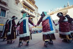 LEH, INDIA - SEPTEMBER 20, 2017: Unidentified artists in Ladakhi Stock Photography