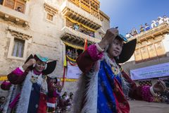 LEH, INDIA - SEPTEMBER 20, 2017: Unidentified artists in Ladakhi stock photography