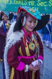 The Ladakh festival 2017. LEH, INDIA - SEPTEMBER 20, 2017: Unidentified Ladakhi people with traditional costumes  participates in the Ladakh Festival in Leh Stock Photography