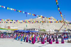 The Ladakh festival 2017. LEH, INDIA - SEPTEMBER 20, 2017: Unidentified Ladakhi people with traditional costumes  participates in the Ladakh Festival in Leh Stock Photos
