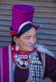 The Ladakh festival 2017. LEH, INDIA - SEPTEMBER 20, 2017: Unidentified Ladakhi woman with traditional costumes  participates in the Ladakh Festival in Leh India Stock Photo