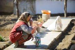 Leh, Indien - 15. April 2016: Nicht identifizierte alte Ladakhi-Frau in trinkendem Tee des Trachtenkleids und des Hutes Stockbilder