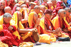 LEH INDIEN - AUGUSTI 5, 2012: buddistiska munkar Arkivfoto