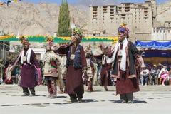 LEH, INDIEN - 20. SEPTEMBER 2017: Nicht identifizierte Künstler in Ladakhi Lizenzfreie Stockfotos