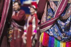 LEH, INDIEN - 20. SEPTEMBER 2017: Nicht identifizierte Künstler in Ladakhi Stockfoto