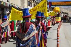 LEH, INDIEN - 20. SEPTEMBER 2017: Nicht identifizierte Künstler in Ladakhi Lizenzfreies Stockfoto