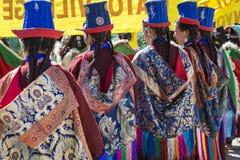 LEH INDIEN - SEPTEMBER 20, 2017: Oidentifierade konstnärer i Ladakhi Arkivbild