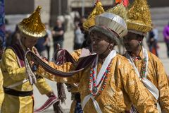 LEH INDIEN - SEPTEMBER 20, 2017: Oidentifierade konstnärer i Ladakhi Fotografering för Bildbyråer