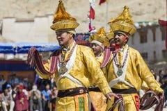 LEH INDIEN - SEPTEMBER 20, 2017: Oidentifierade konstnärer i Ladakhi Arkivfoto