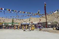 LEH, LA INDIA - 20 DE SEPTIEMBRE DE 2017: Artistas no identificados en Ladakhi Imágenes de archivo libres de regalías