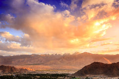 Leh, Ladakh. Bird`s eye view of city of Leh in Ladakh, Kashmir and surrounding mountains Royalty Free Stock Photos