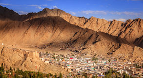 Leh, Ladakh. Bird`s eye view of city of Leh in Ladakh, Kashmir and surrounding mountains Royalty Free Stock Images
