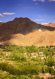 Leh, Ladakh. Bird`s eye view of city of Leh in Ladakh, Kashmir and surrounding mountains Stock Image