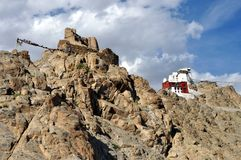 Leh (Ladakh) - château de Tsemo donnant sur la ville Images libres de droits