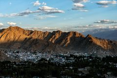 Leh ladakh city in the evening royalty free stock photo