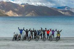 LEH LADAKH , INDIA - SEPTEMBER 23 2017 : Biker take a photo in pangong lake, Leh Ladakh,India on September 23, 2017