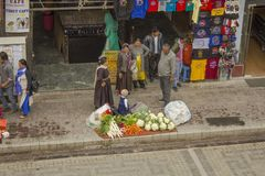 Shopping pedestrian street with a local people royalty free stock photography