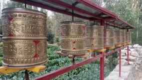 Tibetan drums with mantras. Leh, Ladakh, Jammu and Kashmir/ India - 13.08.2018: Tibetan drums with mantras stock images