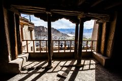 Leh Monastery looming over medieval city of Leh Royalty Free Stock Photography